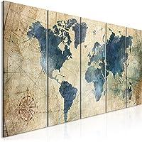 murando Impression sur Toile intissee Carte du Monde 100x40 cm Tableau 5 Parties Tableaux Decoration Murale Photo Image…