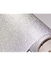 CVANU® Glitter Silver Self Adhesive Shelf Liner Film Vinyl Peel-Stick Multipurpose Roll
