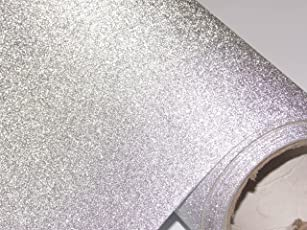 CVANU® Glitter Silver Self Adhesive Shelf Liner Film Vinyl Peel-Stick Multipurpose Roll