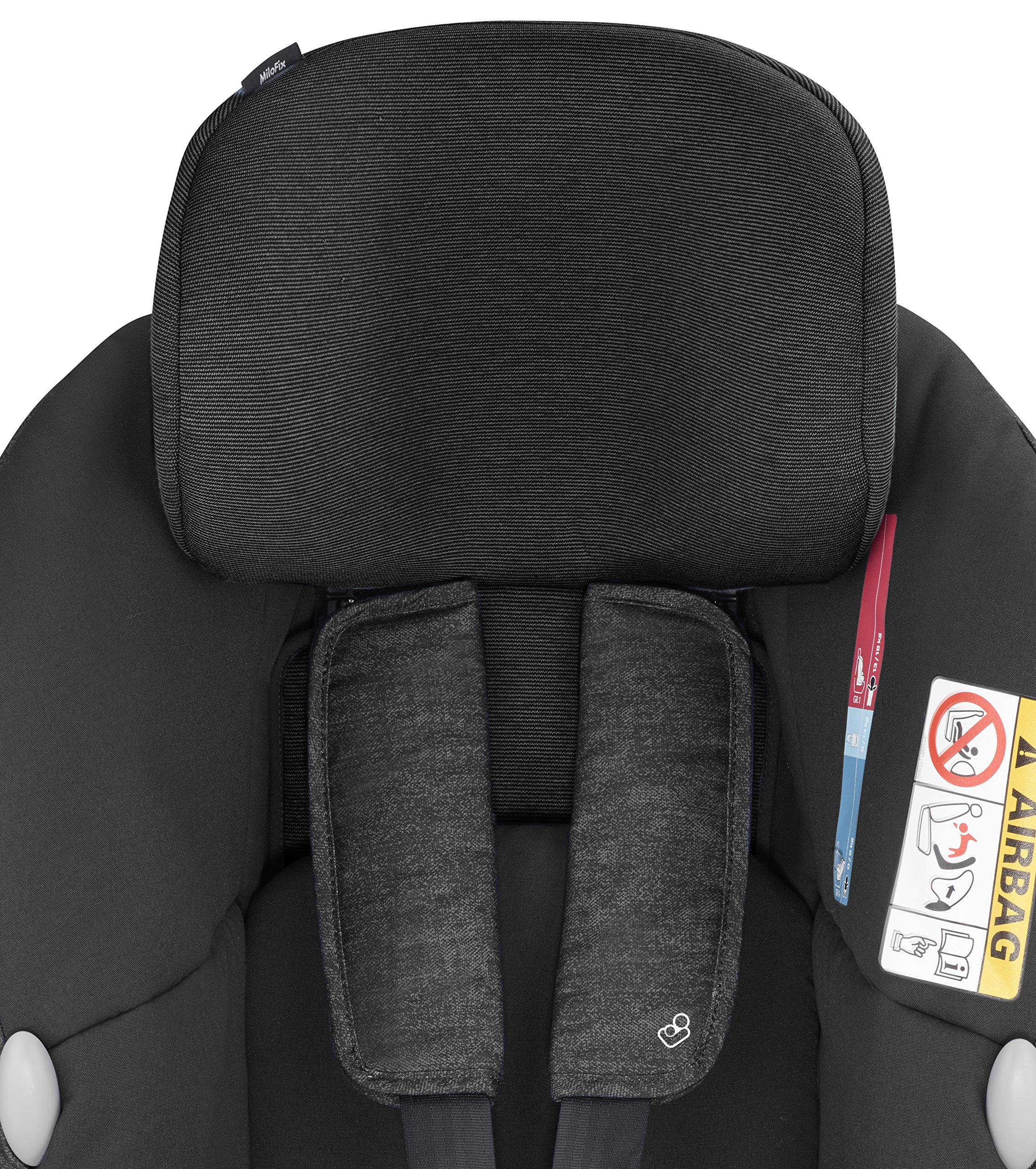 Maxi-Cosi MiloFix ISOFIX Combination Car Seat, Group 0+/1 car seat, Rear and Forward-facing, 0-4 years, 0-18 kg, Nomad Black Maxi-Cosi Rear and forward facing group 0+/1 car seat, suitable from birth to 18 kg (birth to 4 years) i-Size car seat, extended rearward-facing travel up until 18 months Padded seat and angled base provide additional leg room in rear-facing position 4