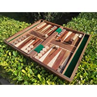 """Cloudwalk Premium Teak Wood Folding Handcrafted Backgammon Game Set - 14"""" (Inch) with Wooden Dice & Coins (14 Inches)"""