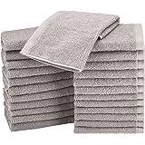 AmazonBasics Cotton Washcloth/Face Towel - 448 GSM - Pack of 24, Grey