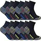 Sock Snob Calzini da lavoro da uomo con taglio basso in cotone imbottito Ultimate per stivali con punta in acciaio