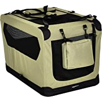 AmazonBasics Premium Folding Portable Soft Pet Dog Crate Carrier Kennel - 30 x 21 x 21 Inches, Khaki