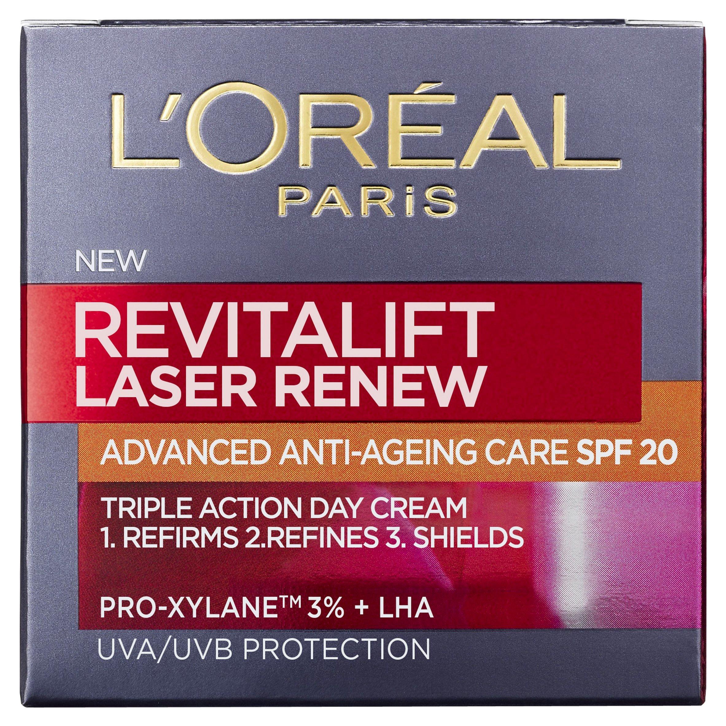 Crema facial antiedad L'Oreal París Revitalift Laser Renew, con SPF 20, 50ml