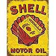 Targa da parete in metallo stile olio motore Shell pubblicità