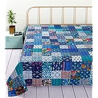 Handicraft-Palace Cotton 1000 TC Quilt (Double_Blue)