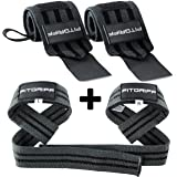 Fitgriff Handgelenk Bandagen + Zughilfen (2Paar/4Stück) Premium Fitness Set für Kraftsport, Bodybuilding und Krafttraining - für Frauen und Männer - 2 Jahre Gewährleistung