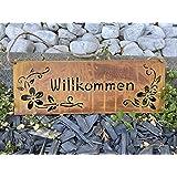 Edelrost Tafel Willkommen Blüten Schild Deko Garten Metall Rost Beetstecker