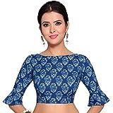 STUDIO Shringaar Women's Indigo Blue Pure Cotton Stitched Saree Blouse With Frilled Sleeves