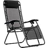 AmazonBasics Zero Gravity Reclining Lounge Portable Chair, Black