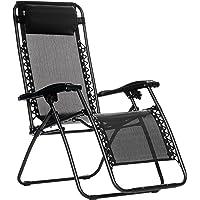 AmazonBasics Steel Zero Gravity Reclining Lounge Portable Chair, Black