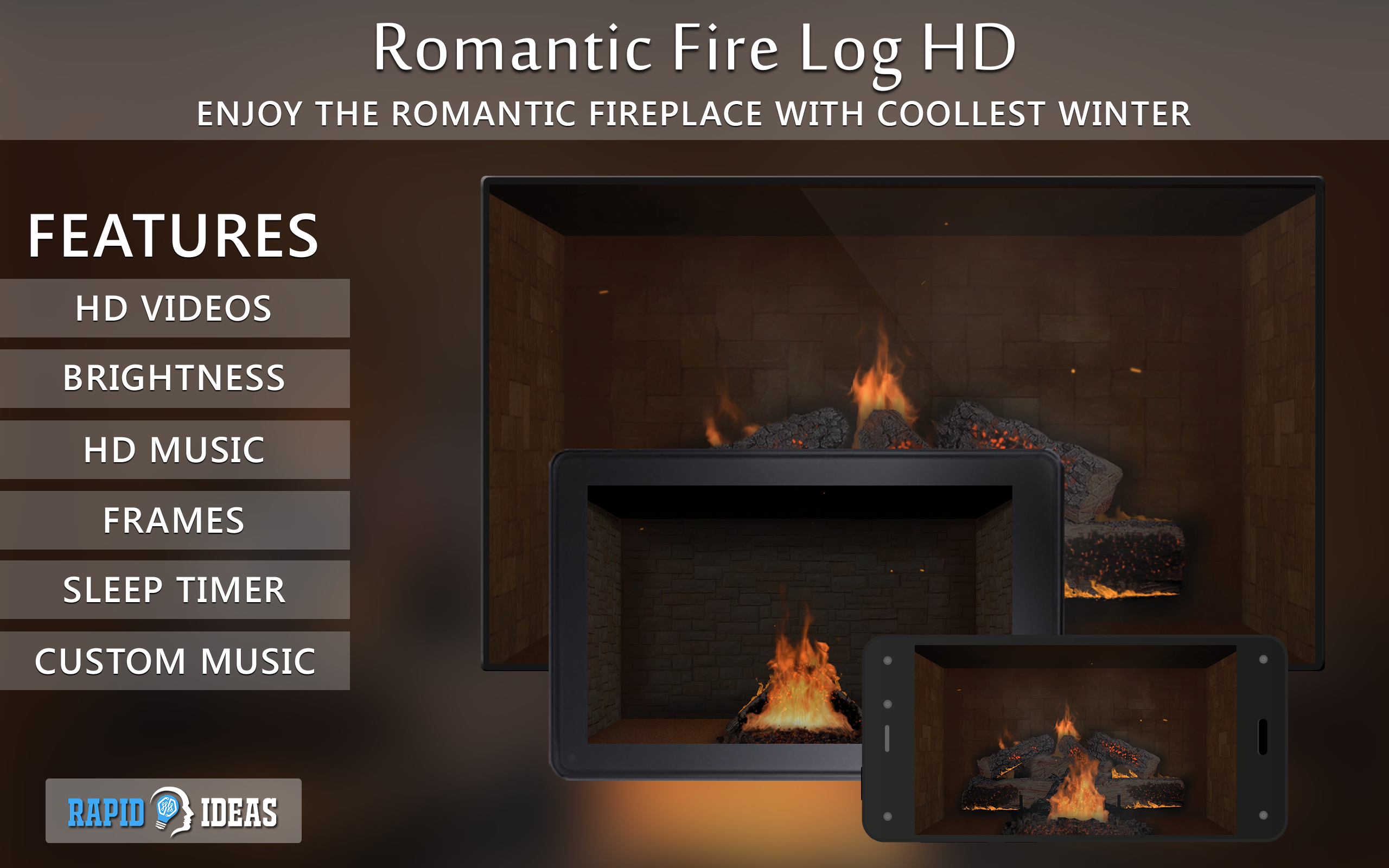 Romantic Fire Log Hd Fireplace Wallpaper Themes Amazon Fr