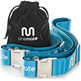 ONEMATE Koffergurt-Set mit Metallschnalle – Unfassbar Robustes Kofferband für 100% Sichere Reisen - blau