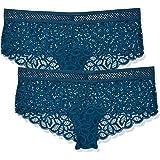 Marca Amazon - IRIS & LILLY Culotte de Crochet y Encaje Mujer, Pack de 2