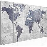 murando Impression sur Toile intissee Carte du Monde 225x90 cm Tableau 5 Parties Tableaux Decoration Murale Photo Image Artis
