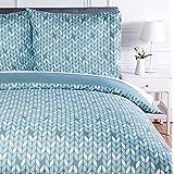 Amazon Basics Parure de lit avec housse de couette en microfibre, 260 x 240 cm, Gris (Grey Leaf)
