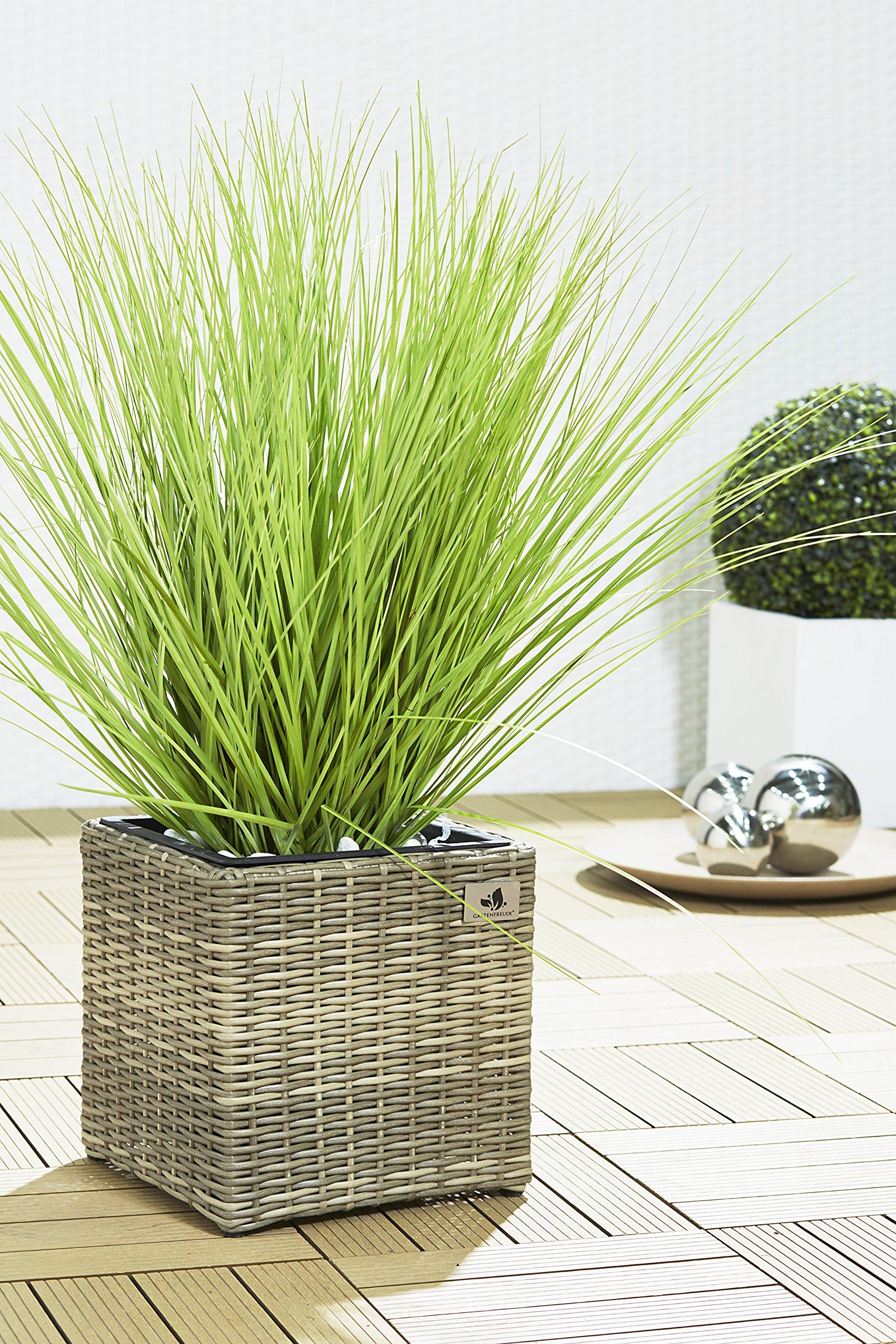 Gartenfreude Maceteros para Plantas de polyrattan Marca Incluye Insertos plásticos para el Interior y el Exterior, Negro…
