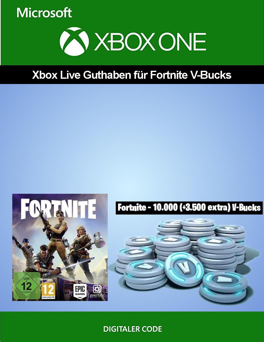Xbox Live Guthaben für Fortnite - 10.000 V-Bucks + 3.500 extra V-Bucks   Xbox One - Download Code [PC Code - Kein DRM]