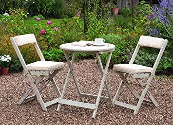 Greenhurst Solid Acacia 2 Seater Patio Set With Round Bistro Table In  Antique White And Matching Padded Cushions: Amazon.co.uk: Garden U0026 Outdoors