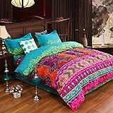 Unimall Parure de lit 4/3 Pcs Style Boho/Indien Linge de lit Coton Housse de Couette Taies d'oreiller Boheme Housse de Coussi