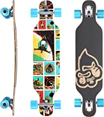 Star-Skateboards Premium Canadian Maple Drop Through Flush Cut Pro Longboard Skateboard für Kinder auch Anfänger ab ca. 6-8 Jahre ★ 65mm Kids Cruiser/Dancer Edition ★