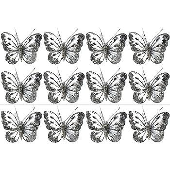 Set Of 12 Clip On Jewelled Glitter Mesh Decorative Butterflies 8cm