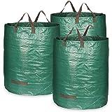 COM-FOUR® 3x Tuintas met draaggrepen - Opvouwbare tuinafvalzak L - Scheurvaste opvouwbare afvalbak voor bladeren en groenafva