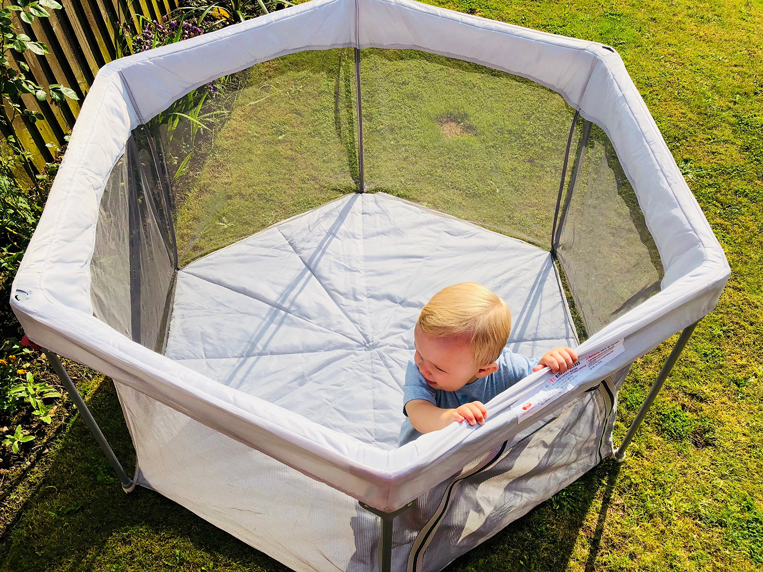 All Stars Joy Baby Playpen, Foldable & Compact, Fitted Floor Mat, Strong and Durable Play Pen ALL STAR New 2018 Foldable Playpen, sets up and folds down in seconds, fitting comfortably in a carry bag for easy transportation Safety First - New Patented Folding mechanism, eliminates steel cross sections as seen on older portable play pen versions Padded nylon canvas weather resistant floor mat for use indoors and outdoors, easy to clean. Simply wipe down with a damp cloth. Sides are equipped with ventilating mesh walls for easy visibility, a zip-opening panel allows for easy access 3