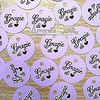 50 pezzi Cartellini Stampati Lilla per bomboniera, 3 centimetri, tag grazie, tondo, etichette, nascita, battesimo…