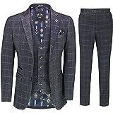 Mens Herringbone Tweed Check 3 Piece Suit Smart Classic 1920s Retro Tailored Fit