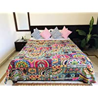 Shopping Monk Indian Patchwork Kantha Bedcover Quilt Print Throw Blanket Reversible King-Size Patch Work Kantha…