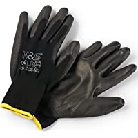 12 Pairs of Work Gloves S (7) Nylon PU coated CAT II available XS extra-small (6),S small (7), M medium (8), L large (9…