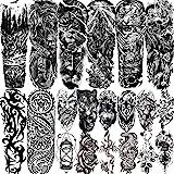LAROI 20 Blätter Extra Groß Temporäre Tattoos Vollem Arm Männer Erwachsene, Temporäre Tattoos Frauen Tiger Schlange Löwe, Sch