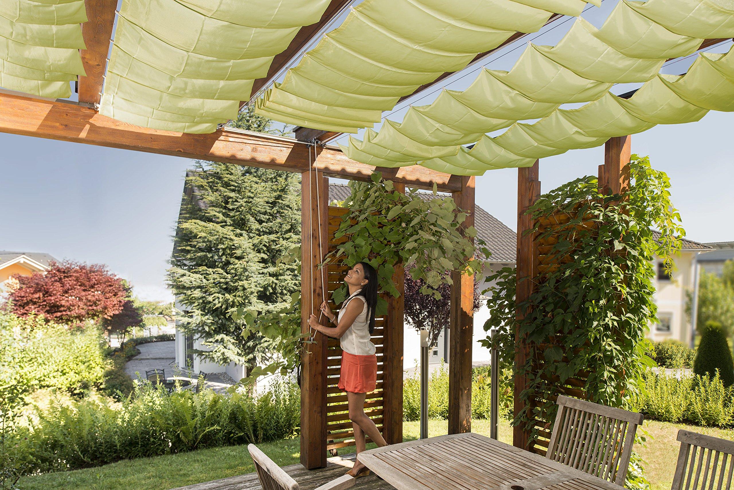 Windhager Sonnensegel für Seilspanntechnik Komplett-Set inkl. Sonnen-Segel 270 x 140 cm, ideal für Pergola oder…