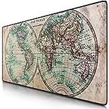 CSL- Tapis de Souris Gamer Carte du Monde Antique 900x400mm - sous-Main Bureau hémisphère - Taille Large XXL - Surface en Tis