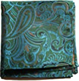 Paul Malone de carré de poche mouchoir 100% soie Vert paisley