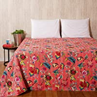 Ravaiyaa - Attitude is everything Floral Printed Hand Kantha Quilted Double Size Quilt Bed Throw Bedspread Gudari Cotton Gudari Ralli Bedding Quilt Coverlet (Pink)