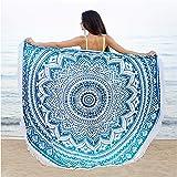 "Bohemian Decor Round Beach Tapisserie - 72"" Oversized Hippie Mandala Picknick Throw - Wandbehang - Bikini Cover up - Wrap - H"