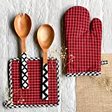 PIXEL HOME Micro Check Cotton Oven Mitten with Pot Holder - Heat Resistant - Micro Check (Red & Black)