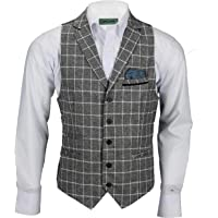 Xposed Mens Tweed Blazer White on Grey Windowpane Check Retro Vintage Smart Tailored Fit Jacket