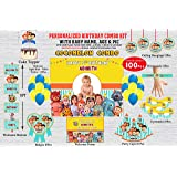 wow party studio personalized cocomelon theme birthday party supplies with birthday boy/girl name - combo kit #1 (100 pcs)- M