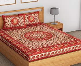 SheetKart Floral Elephant Printed Traditional 144 TC Pure Cotton Double Bedsheets with 2 Pillow Covers, Red, for King Size