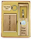 CrownLit Wooden Ball Pen, Pen Card Holder, Keychain Set with Your Name Engraved on It