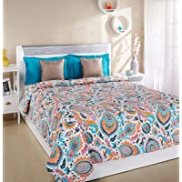 Amazon Brand - Solimo 100% Cotton Printed Comforter, Double (Paisley Preen, 200GSM)