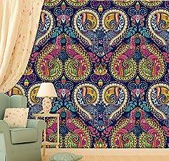 PRINTELLIGENT Indian Ornamental Paisley Design Journal Peel and Stick Wallpaper - (Vinyl, 45 Sq Ft, Multicolour)