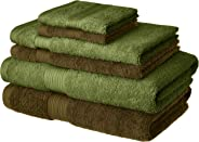 Amazon Brand - Solimo 100% Cotton 6 Piece Towel Set, 500 GSM (Brown and Olive Green)
