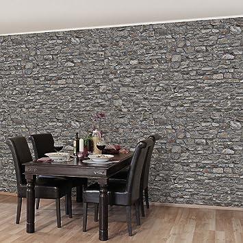 Steintapete grau wohnzimmer  Fototapete | Steintapete Alte Steinmauer - Vliestapete Querformat ...