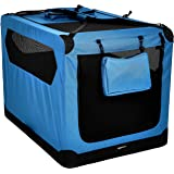 AmazonBasics Premium Folding Portable Soft Pet Dog Crate Carrier Kennel - 42 x 31 x 31 Inches, Blue