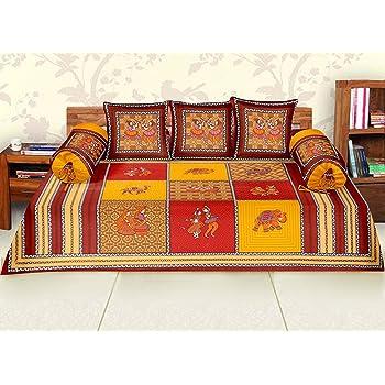 RajasthaniKart Maherab 6 Piece 144 TC Cotton Diwan Set - Red